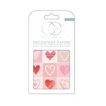 Craft Consortium© 3 x Decoupage Specialist Paper Sheets - Love Hearts