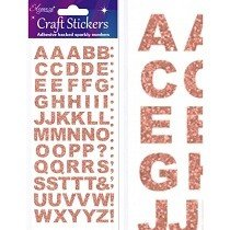 Eleganza® Craft Stickers - Alphabet, Block - Rose Gold