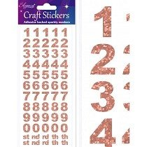 Eleganza® Craft Stickers - Numbers, Block - Rose Gold