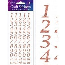 Eleganza® Craft Stickers - Numbers, Stylized - Rose Gold