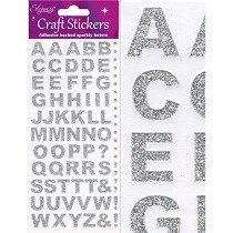 Eleganza® Craft Stickers - Alphabet, Block - Sparkling Silver