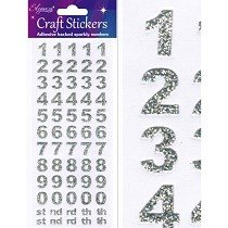 Eleganza® Craft Stickers - Numbers, Block - Sparkling Silver