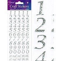 Eleganza® Craft Stickers - Numbers, Stylized - Sparkling Silver