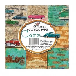 Decorer® 6 x 6 Scrapbook Paper Pack (24 pcs) - Cars