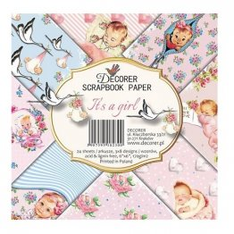 Decorer® 6 x 6 Scrapbook Paper Pack (24 pcs) - It's a Girl