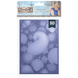 "Crafter's Companion® Signature Collection, Nautical by Sara Davies - 5"" x 7"" 3D Embossing Folder, Seashell Medley"