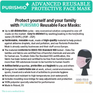 Purismio◊ Advanced Reusable Protective Face Mask - Single, Black