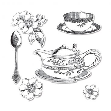 Sizzix™ Stamp & Die-cut Framelits Set (6pk) - Tea Time by GRAPHIC 45