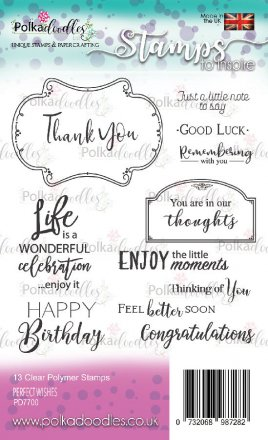 Polkadoodles® Clear A6 Stamp Set - Perfect Wishes